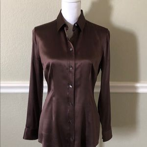 Authentic Dolce and Gabbana brown silk shirt, 44/8